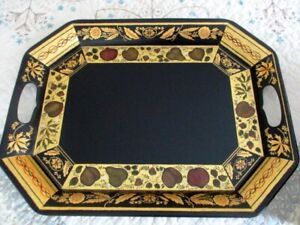 Wow Hand Painted Gold Leaf Vintage Black Serving Or Mantle Display Tole Tray