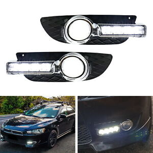 White Led Fog Light Kit W Amber Turn Signal Feature For Mitsubishi Lancer De Es