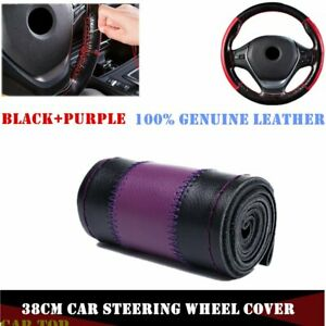 15 38cm Diy Soft Genuine Leather Car Steering Wheel Cover Neddle Thread Purple