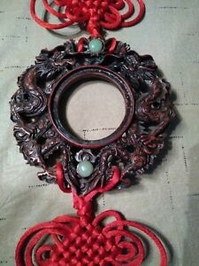 Vtg Feng Shui Spiritual Chinese Faux Jade Carved Dragon Red Doubletassel 31 Long