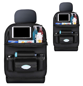 Fawors Car Back Seat Organizer With Foldable Dining Table Pu Leather Auto Bag