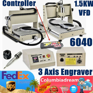 3 Axis Cnc 6040 Router Engraving Machine 1 5kw Vfd Engraver Kit With Controller