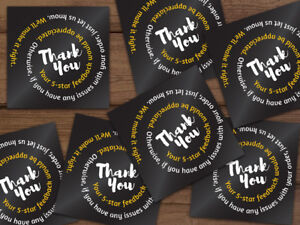 20 1000 Thank You Shipping Labels Stickers Black Gold White Swirl Personalized