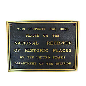 National Register Of Historic Places Wall Plaque Solid Brass Old Building Sign
