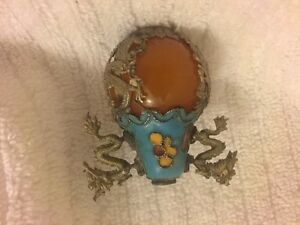 Amber Turquoise Enamel Asian Oriental Silver Tone Dragon Flower Snuff Bottle Top