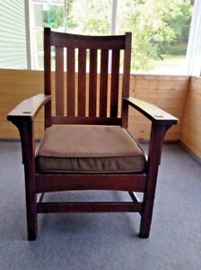 Antique L J G Stickley Arts Craft Slat Back Oak Arm Chair Price Reduced