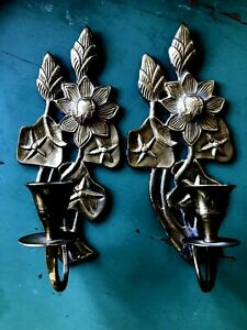 2 Vtg Brass Wall Sconce Candle Holders Flowers And Stars 8 5 Long Mid Cent Mod