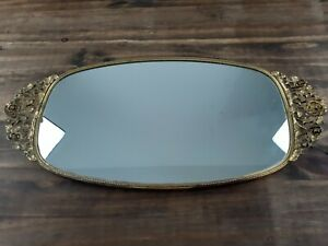 Antique Vintage Gold Gilt Metal Easel Back Table Vanity Mirror Frame
