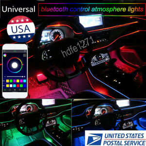 Bluetooth Phone App Control Rgb 4 Led Car Door Dash Ambient Light 6m Neon Strip