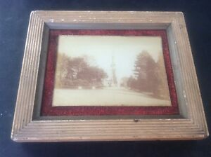 Antique Victorian Framed Photograph Macclesfield Church Spire Makers Mark