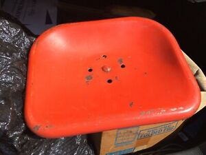Vintage Steel Orange Tractor Seat With Mounting Bracket