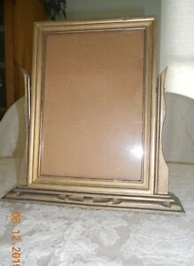 Antique Standing Picture Frame Wood Painted Gold 8x10