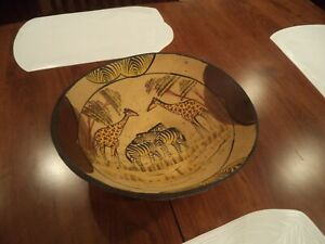 Vintage Large Hand Painted Wooden Bowl African Animal Design 12 1 2 Diameter