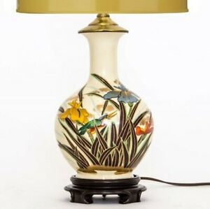 Vintage Japanese Hand Painted Porcelain Vase Made Into Table Lamp W Irises Bird