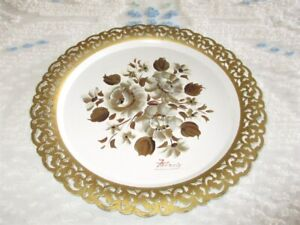 Nashco Fancy Edge Vintage White Tole Tray Hand Painted Artist Signed Francis