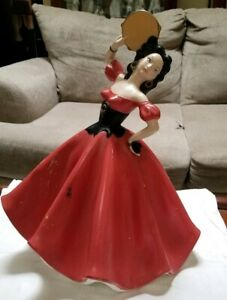 1968 Vintage Spanish Lady Figurine Dancer Large 17 Tall Colorful Ceramic Statue