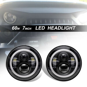 60w Led Headlight Assembly Hi lo Halo Ring Drl Pair For Jeep Wrangler Jk Zmq