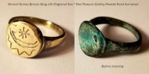 Ancient Roman Bronze Ring With Engraved Sun Star Museum Quality Masada Israel