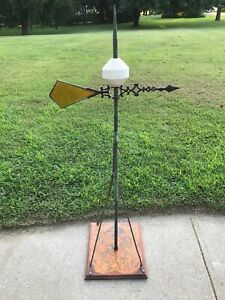 Antique Victorian Cast Iron Stain Glass Lightning Rod Ball Weathervane Unique