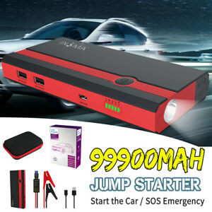 99900mah 12v Car Jump Starter Portable Usb Power Bank Battery Booster Clamp Us