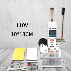 10 13cm Manual Digital Hot Foil Stamping Machine Leather Logo Stamp Bronzing Hot