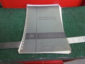 Instruction Parts Manual For 15 Clausing Colechester Lathe H 871