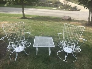 3 Pc Set Of Vintage Mcm Homecrest Patio Furniture 2 Chairs 1 Table