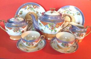 Takito 9 Pc Tea Dessert Set Hand Painted Blue Luster Gold Moriage Japan