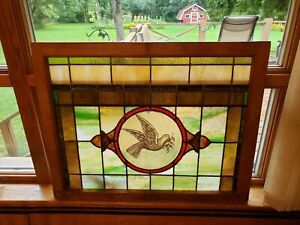 Beautiful Vintage Stained Glass Church Religious Window Flying Dove Love God