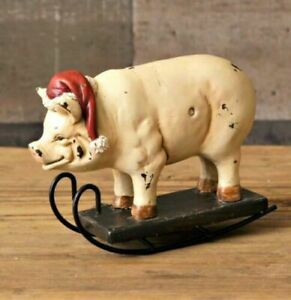 New Primitive Country Santa Pig On Sled Rocker Christmas Home Decor