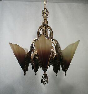 Antique Vintage Art Deco Chandelier Slip Shades Copper Original 5 Lt Restored