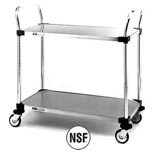 Metro Mw105 2 Shelf Utility Cart With Solid Stainless Steel Shelves 18 X 36