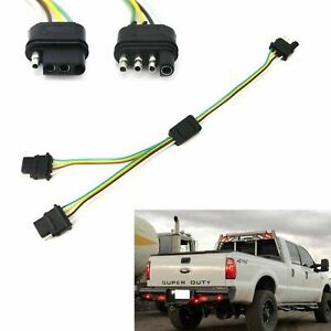 4 Way Flat Y Splitter Dual Plug Adapter For Led Tailgate Light Bar Or Trailer