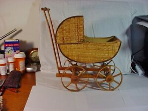 Vintage Wicker Baby Doll Carriage Stroller Custom Made
