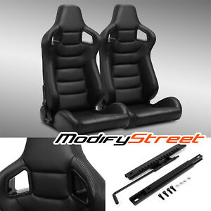2 X Black side Carbon Fiber Mix Pvc Leather L r Racing Bucket Seats Slider