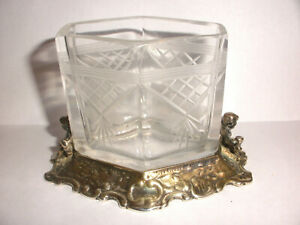 Antique Victorian Sterling Silver Etched Glass Toothpick Holder Cherubs Putti