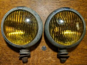 Ford Tractor Headlamps Amber Glass Antique Ge Fog Lights Classic 1933 Unity H1