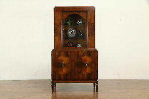French Art Deco Antique Rosewood China Display Or Bar Cabinet 31819