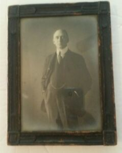 Antique Hand Carved Wood Picture Frame With Glass Victorian Photograph