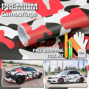 red Black White Gray Camouflage Camo Vinyl Sticker Wrap Decal Air Release