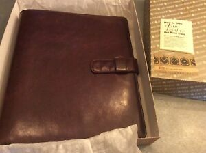 Vtg Day timer 85733 Mahogany Leather 1 7 Ring Planner nos New made In Usa