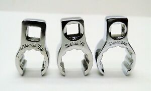 3 Piece Snap On Flare Nut Crowfoot 7 16 1 2 9 16 Wrench Set
