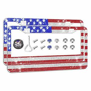 2 Usa America Flag Patriotic Crystal License Plate Frame Cap Made With Swarovski