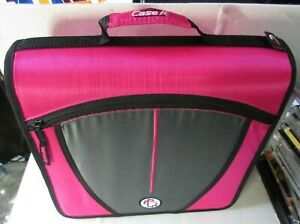 Case it Mighty Zip 3 inch Pink Binder W Handle And 17 Plastic Card Coin Pages