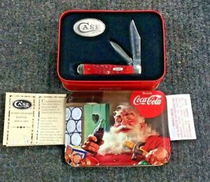 CASE XX #6225 1/2 Red Stag Coca Cola Bottle Pocket Knife w/ Collectors Tin 2001