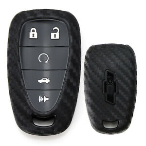 Carbon Fiber Pattern Soft Silicone Key Fob Cover For 16 Up Chevy Camaro Cruze
