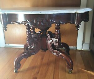 Eastlake Carved Walnut And Marble Top Coffeetable Gorgeous