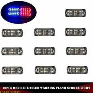 10x 20 Led Red Blue Strobe Light Emergency Warning Flashing Bar Hazard 12 24v