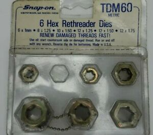 Snap On Metric 6 Hex Rethreader Dies Set 6mm 12mm Tdm60 Renew Damaged Treads