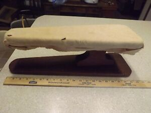 Antique Ironing Board Vintage Primitive Wood Wooden Tabletop Horsehair Cover